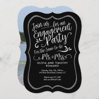Engagment Party Script with Full Photo Back, Black Invitations