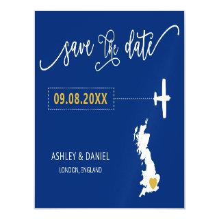 England UK Wedding Save the Date Card, Map Magnetic Invitation