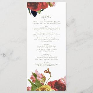 English Garden Vintage Roses Wedding Menu