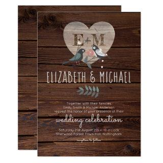 Engraved Heart Love Birds Rustic Wood Wedding Invitation