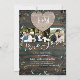 Engraved Heart Rustic Initials Wood Photo Wedding Invitation