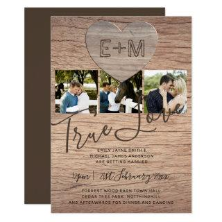 Engraved Heart Rustic Photo Initials Wood Wedding Invitations