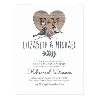 Engraved Heart Woodland Wedding Rehearsal Dinner Postcard