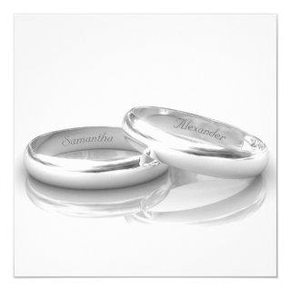 Engraved Silver Rings Wedding Invitations