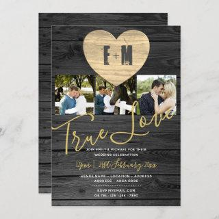 Eternal Heart Rustic Photo Collage Wedding Invites