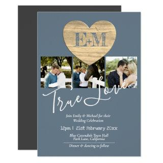 Eternal Heart Steel Blue Photo Collage Wedding Invitation
