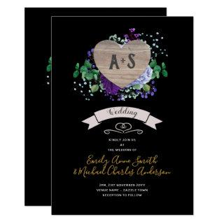 Eternal Heart Wedding Invite Black Purple Floral