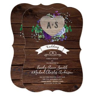 Eternal Heart Wedding Invite Rustic Blue Flowers
