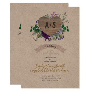 Eternal Heart Wedding Purple Blue Floral Kraft Invitations