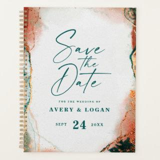 Ethereal Dark Teal & Copper Fall Wedding Plans Planner