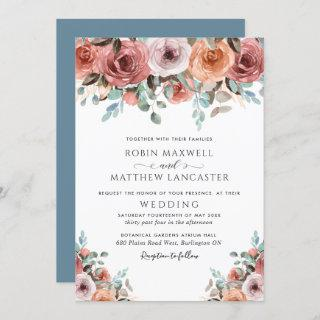Ethereal Dusty Blue and Blush Peach Floral Wedding Invitation