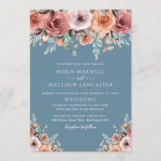 Ethereal Dusty Blue and Blush Peach Floral Wedding