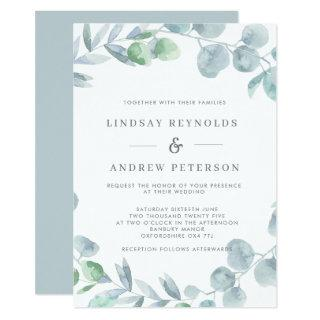 Ethereal Eucalyptus Dusty Blue Wedding Invitation
