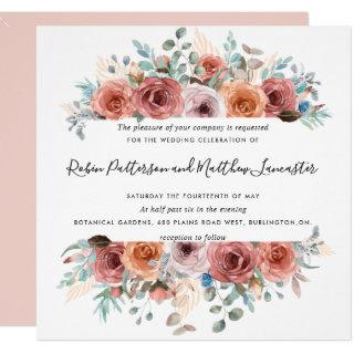 Ethereal in Blush Peach Mint Gray Floral Wedding Invitations