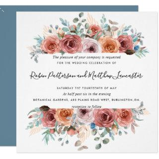 Ethereal in Dusty Blue Blush Peach Floral Wedding Invitations