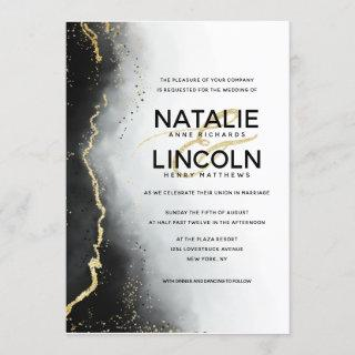 Ethereal Mist Ombre Black Gold Foil Modern Wedding Invitations