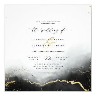Ethereal Mist Ombre Black Luxury Square Wedding Invitations
