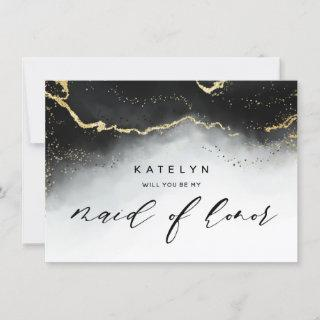 Ethereal Mist Ombre Black Maid of Honor Proposal