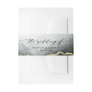 Ethereal Mist Ombre Black Moody Wedding Monogram  Belly Band