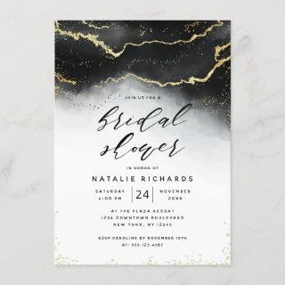 Ethereal Mist Ombre Black Watercolor Bridal Shower Invitation