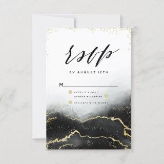 Ethereal Mist Ombre Black Watercolor Moody RSVP