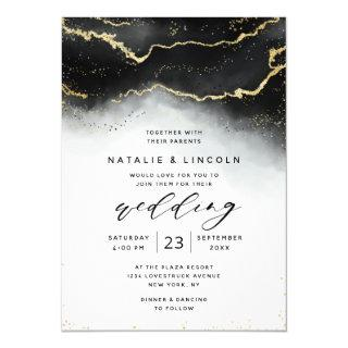 Ethereal Mist Ombre Black Watercolor Moody Wedding Invitation