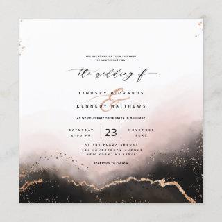 Ethereal Mist Ombre Blush Luxury Square Wedding Invitations