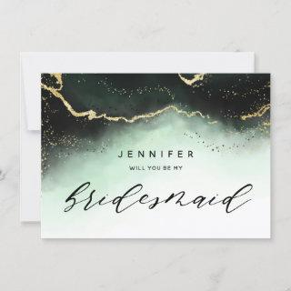 Ethereal Mist Ombre Emerald Bridesmaid Proposal