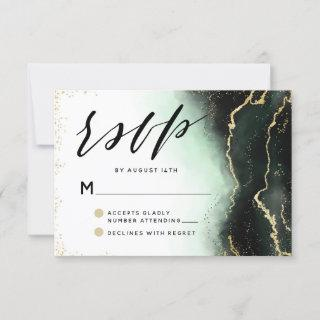 Ethereal Mist Ombre Emerald Green Moody Wedding RSVP Card