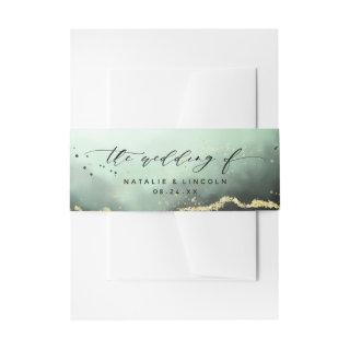Ethereal Mist Ombre Emerald Green Wedding Monogram Invitations Belly Band