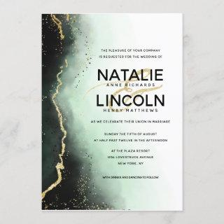 Ethereal Mist Ombre Green Gold Foil Modern Wedding Invitations