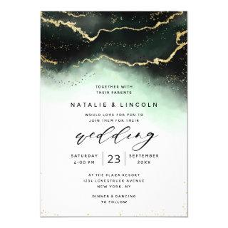 Ethereal Mist Ombre Green Watercolor Moody Wedding Invitations