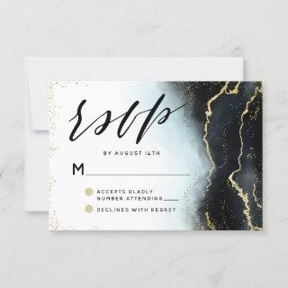 Ethereal Mist Ombre Navy Blue Edgy Moody Wedding RSVP Card