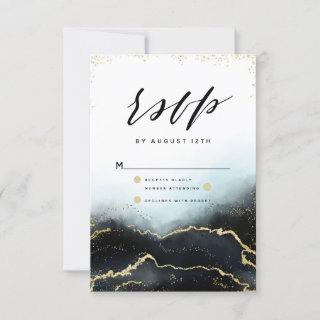 Ethereal Mist Ombre Navy Blue Gilded Moody RSVP