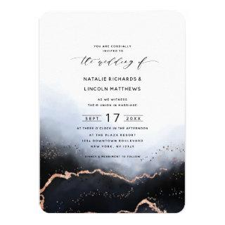 Ethereal Mist Ombre Navy Blue Trendy Wedding Invitations