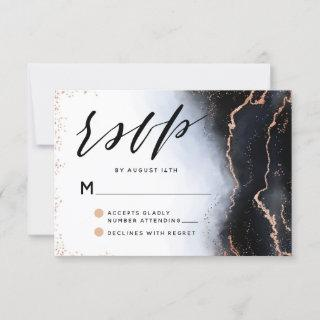 Ethereal Mist Ombre Navy Blue Watercolor Wedding RSVP Card