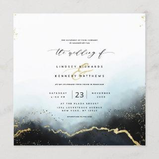 Ethereal Mist Ombre Navy Luxury Square Wedding