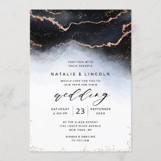 Ethereal Mist Ombre Navy Watercolor Moody Wedding Invitations