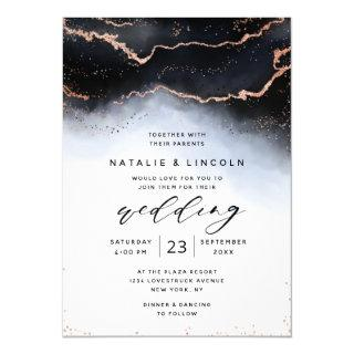 Ethereal Mist Ombre Navy Watercolor Moody Wedding Invitation