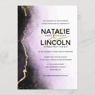 Ethereal Mist Ombre Purple Gold Modern Wedding Invitations