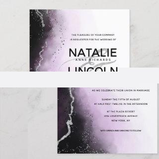 Ethereal Mist Ombre Purple Silver Modern Wedding Invitations