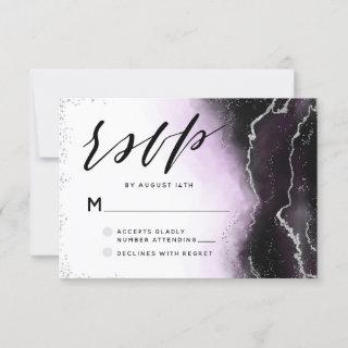 Ethereal Mist Ombre Ultra Violet Moody Wedding RSVP Card