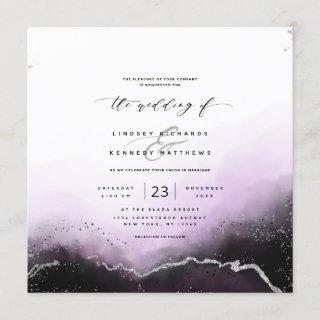 Ethereal Mist Ombre Violet Luxury Square Wedding Invitation