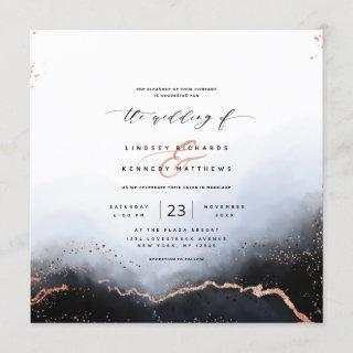 Ethereal Ombre Dusty Blue Luxury Square Wedding Invitations