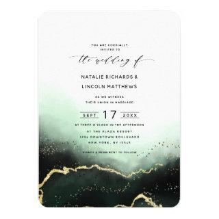Ethereal Ombre Emerald Gold Foil Script Wedding Invitations