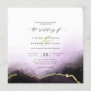 Ethereal Ombre Purple Gold Luxury Square Wedding Invitations