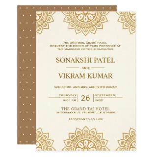 Ethnic Beige and Brown Mandala Indian Wedding Invitations