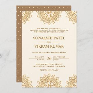Ethnic Beige and Brown Mandala Indian Wedding Invitation