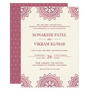 Ethnic Beige and Pink Mandala Indian Wedding Invitation