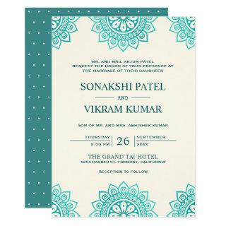 Ethnic Beige and Teal Mandala Indian Wedding Invitation